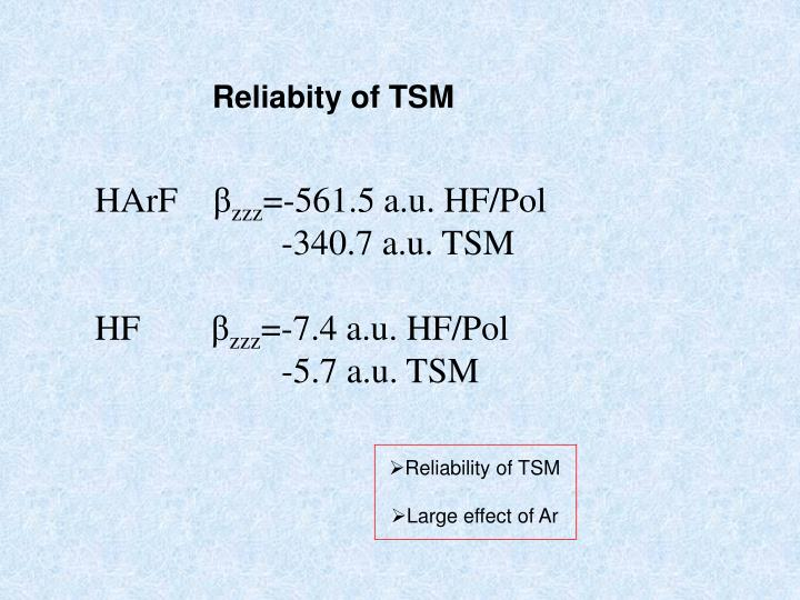 Reliabity of TSM