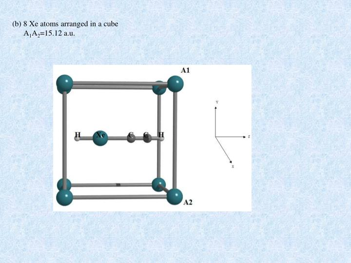 (b) 8 Xe atoms arranged in a cube