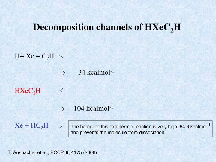 Decomposition channels of HXeC