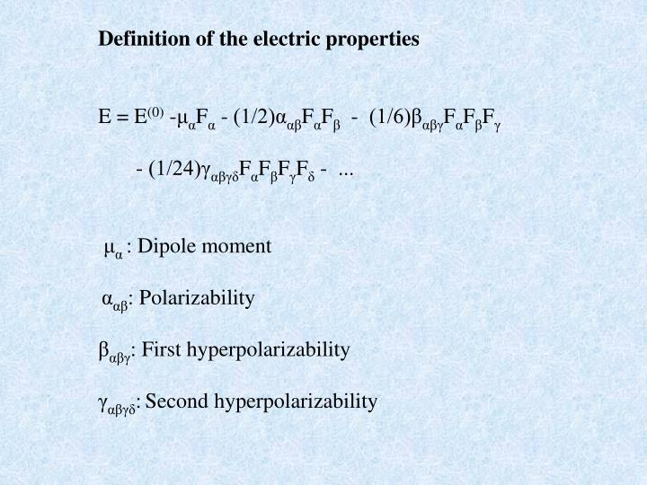 Definition of the electric properties