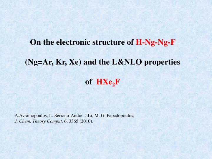 On the electronic structure of