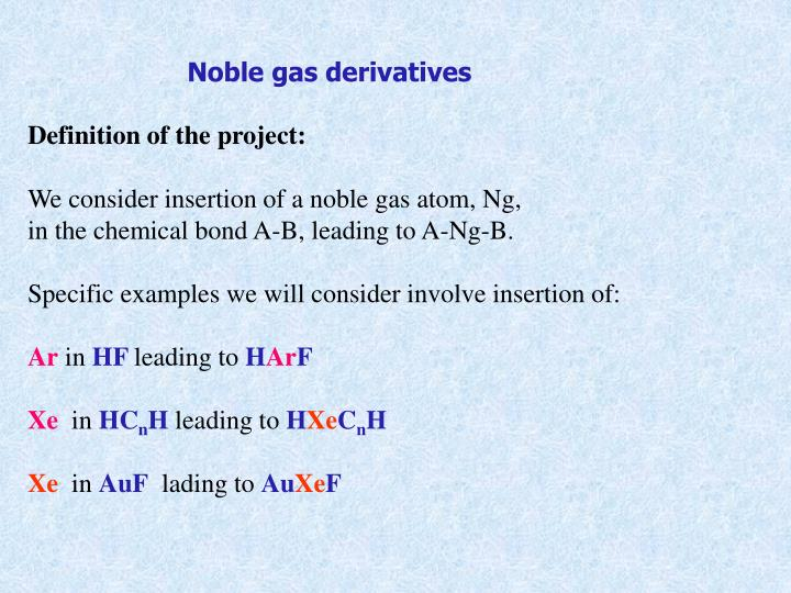 Noble gas derivatives