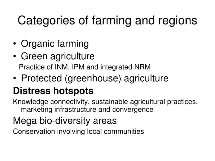 Categories of farming and regions
