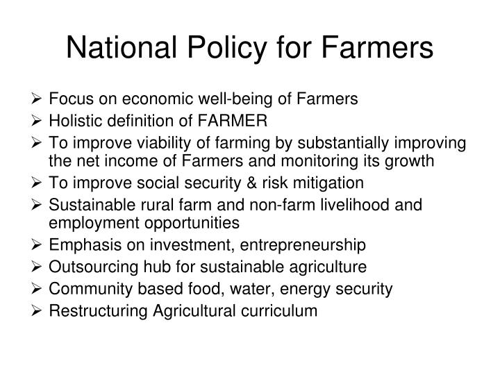 National Policy for Farmers