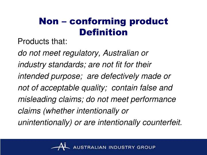 Non – conforming product Definition