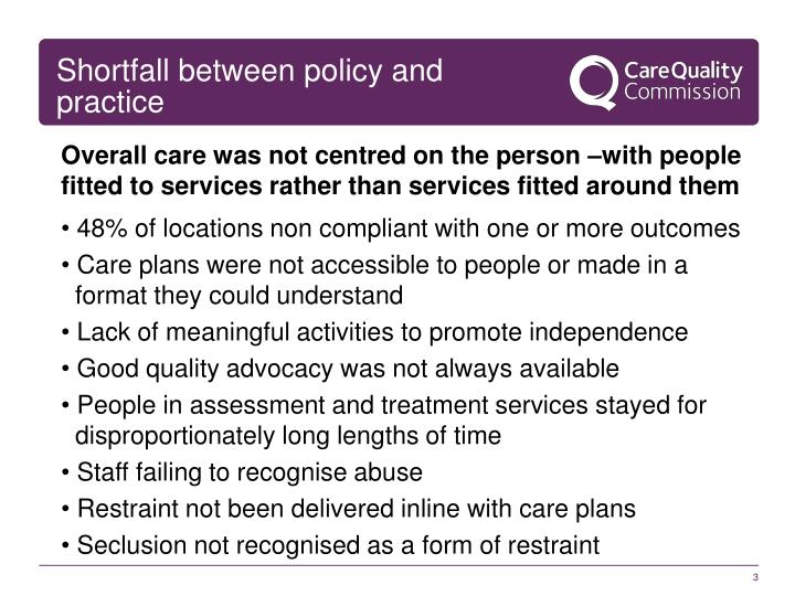 Shortfall between policy and practice