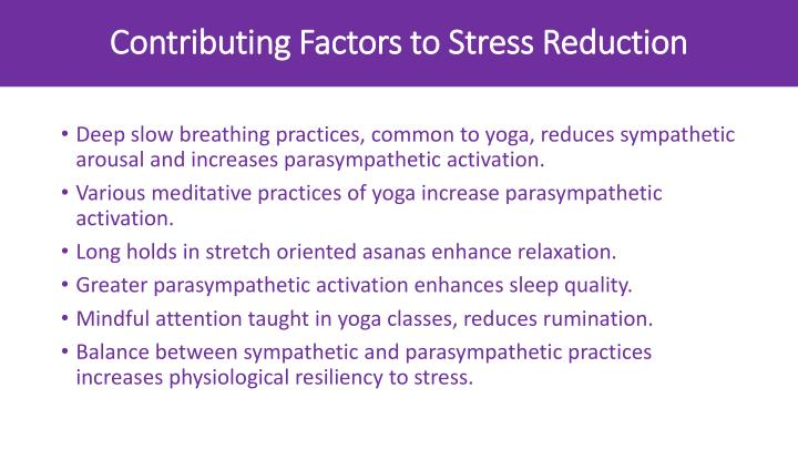 Contributing Factors to Stress Reduction