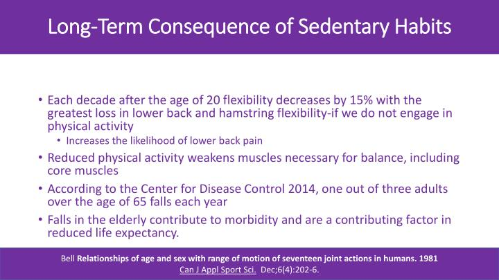 Long-Term Consequence of Sedentary Habits
