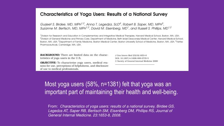 Most yoga users (58%, n=1381) felt that yoga was an