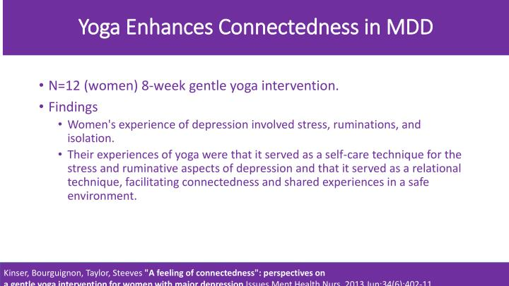 Yoga Enhances Connectedness in MDD