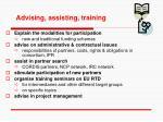 advising assisting training