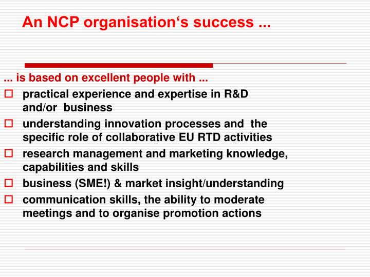 An NCP organisation's success ...