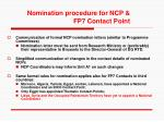 nomination procedure for ncp fp7 contact point
