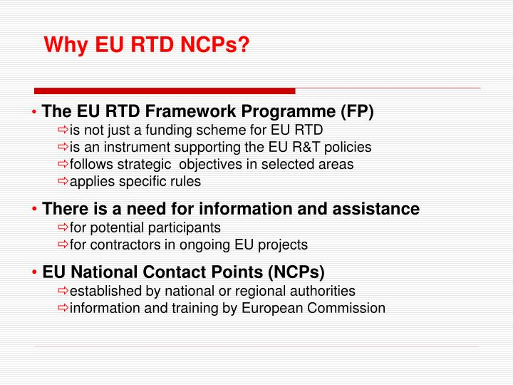 Why EU RTD NCPs?