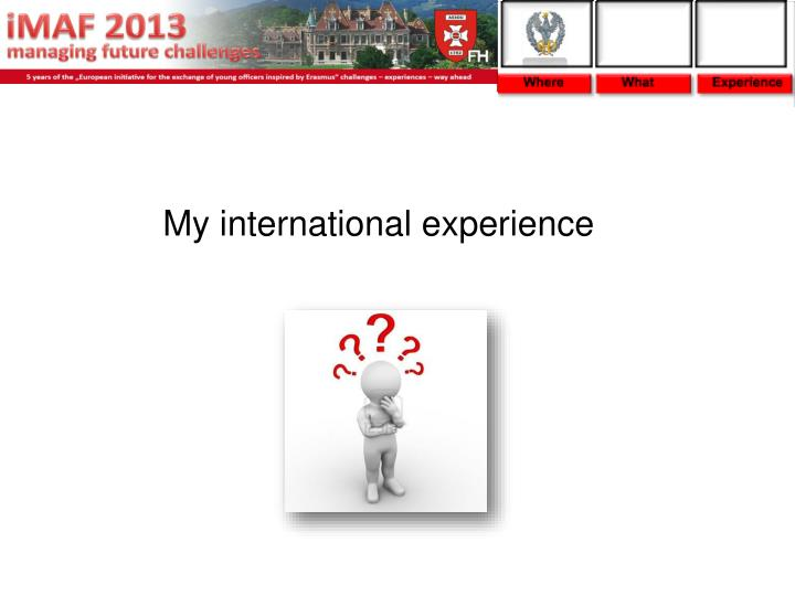 my international experience