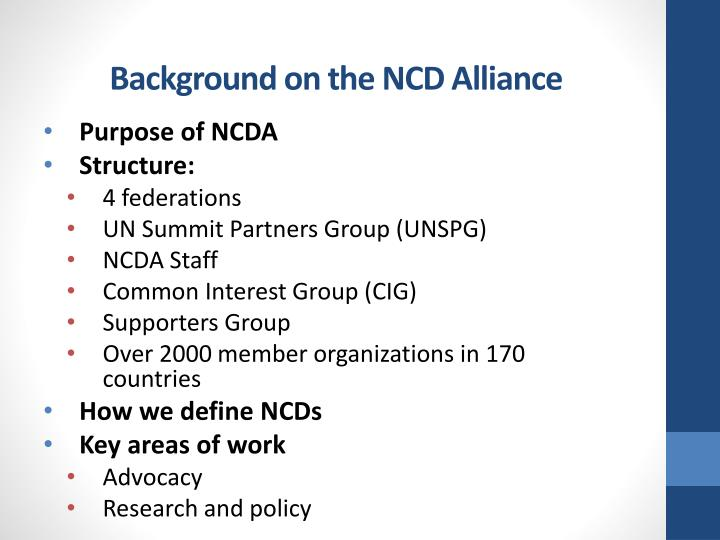 Background on the ncd alliance