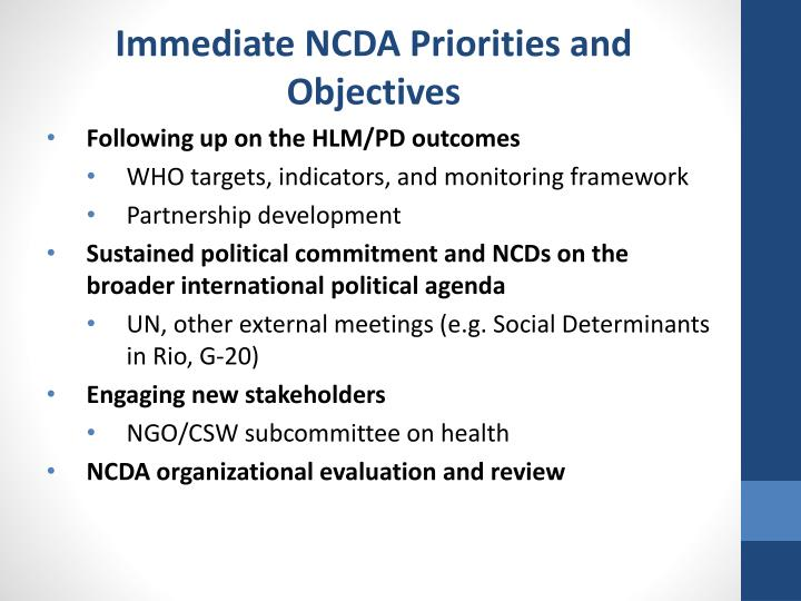 Immediate NCDA Priorities and Objectives