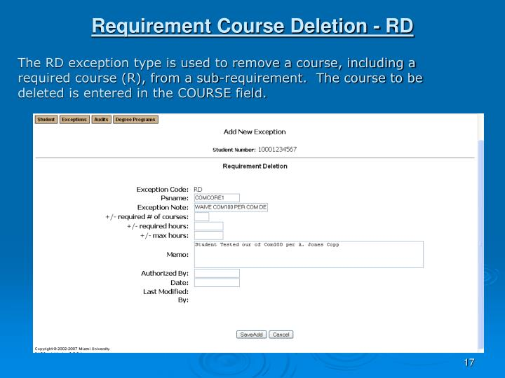 Requirement Course Deletion - RD