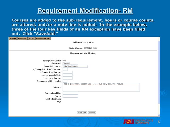 Requirement Modification- RM