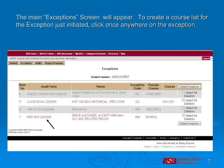 """The main """"Exceptions"""" Screen  will appear.  To create a course list for the Exception just initiated, click once anywhere on the exception."""