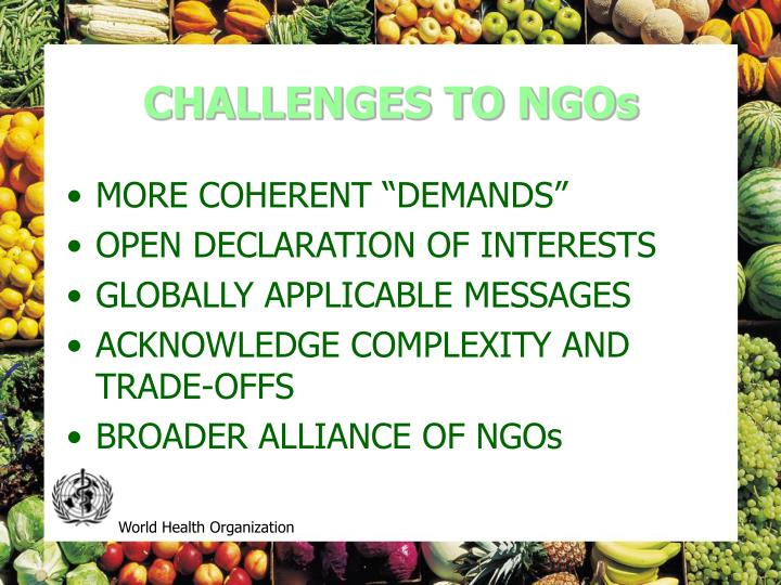 CHALLENGES TO NGOs