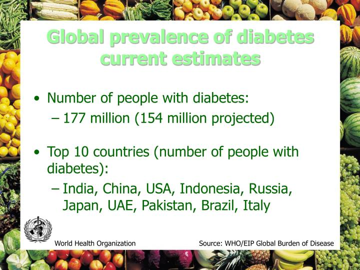 Global prevalence of diabetes current estimates