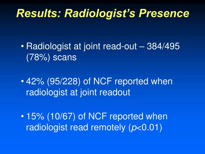Results: Radiologist's Presence