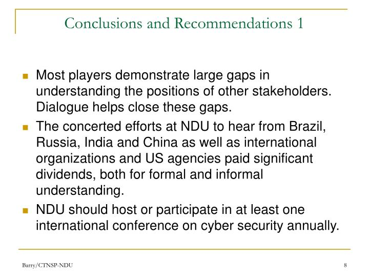Conclusions and Recommendations 1