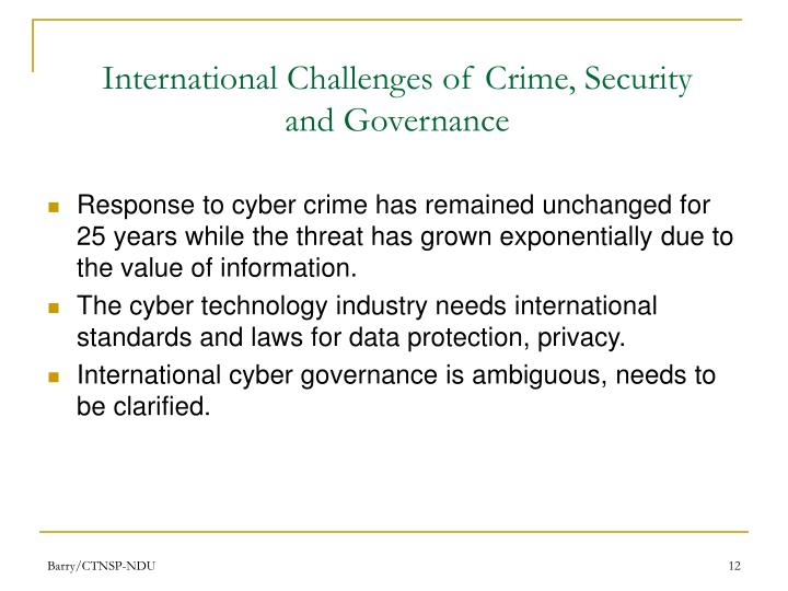 International Challenges of Crime, Security and Governance