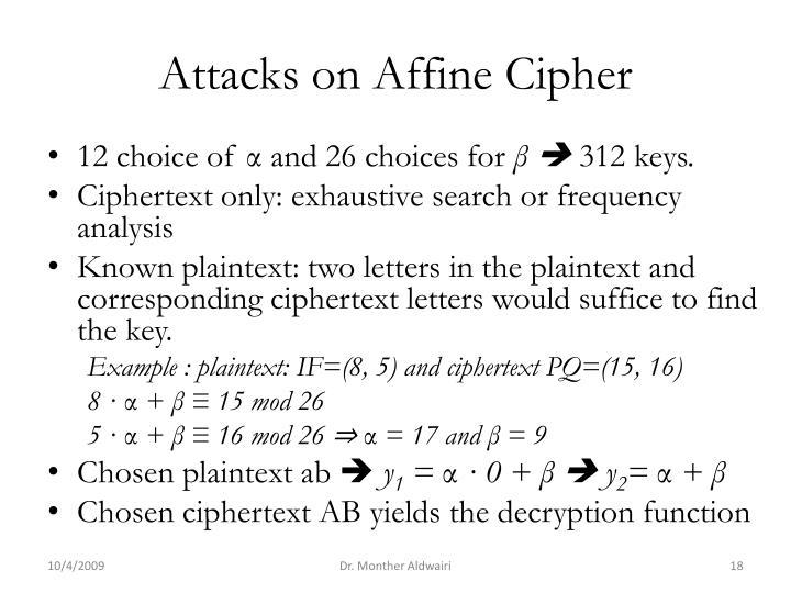 Attacks on Affine Cipher