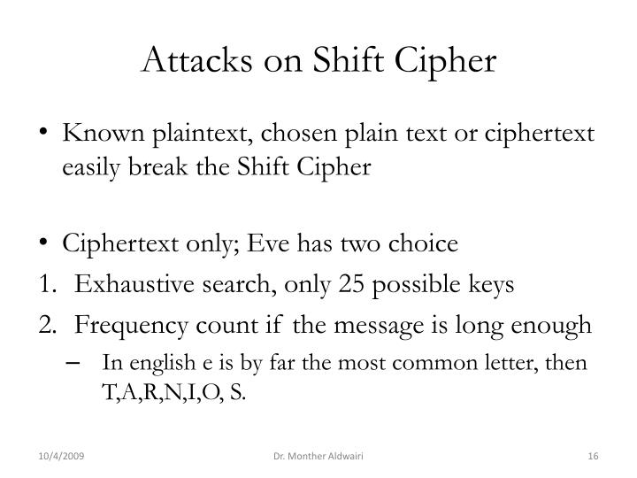 Attacks on Shift Cipher