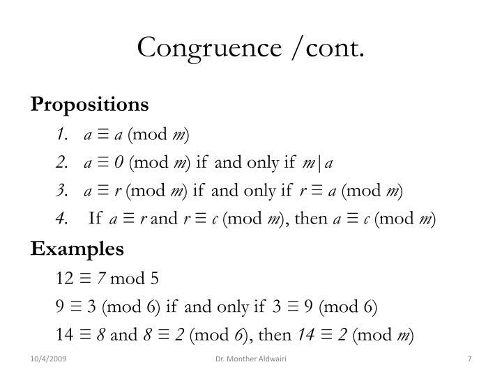 Congruence /cont.