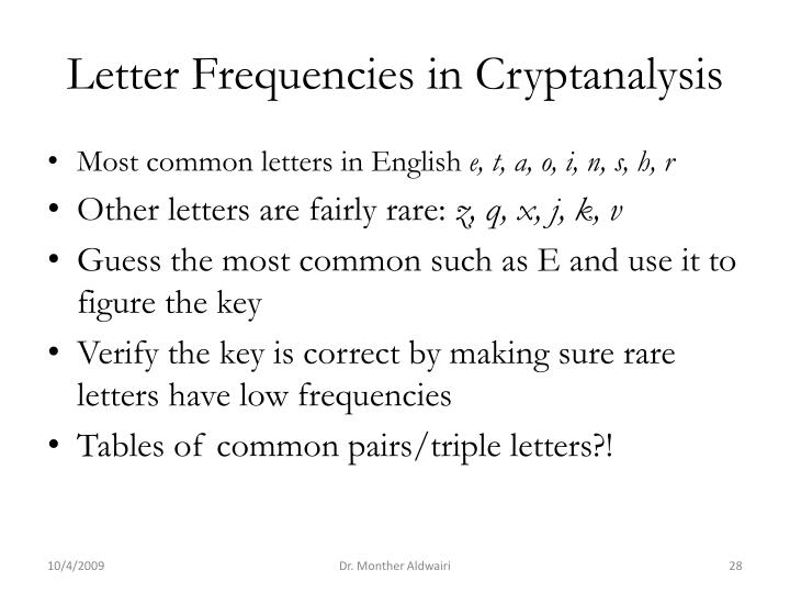 Letter Frequencies in Cryptanalysis