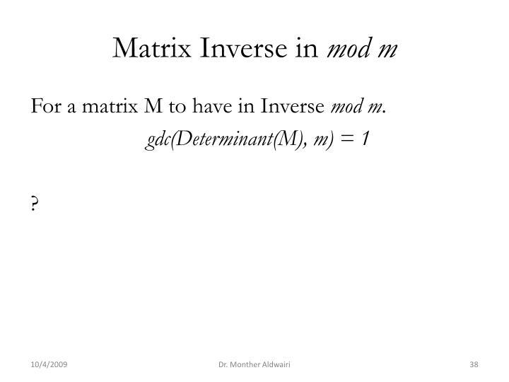 Matrix Inverse in