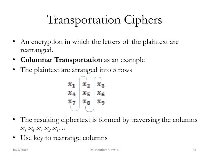 Transportation Ciphers