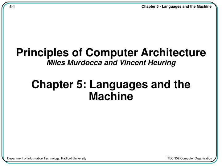 Principles of Computer Architecture