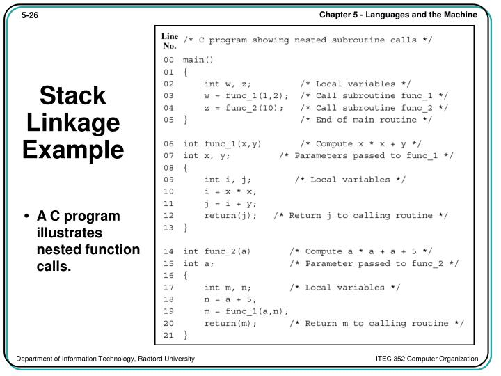 Stack Linkage Example