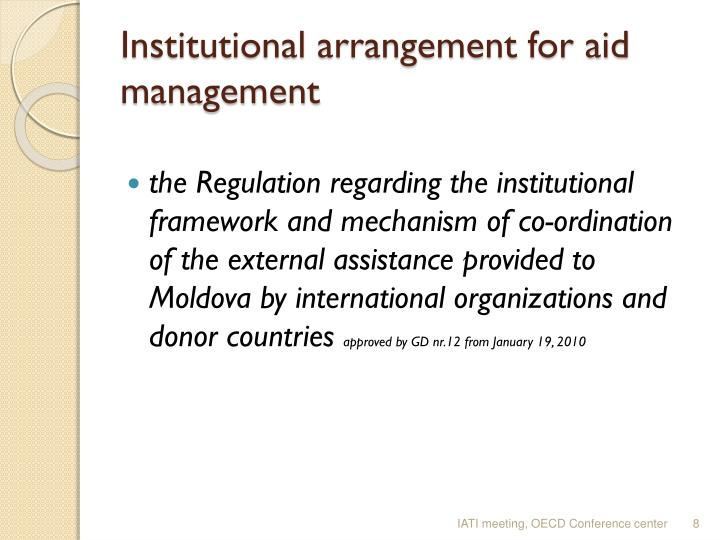 Institutional arrangement for aid management