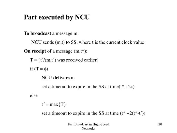 Part executed by NCU