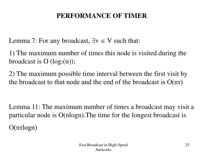 PERFORMANCE OF TIMER