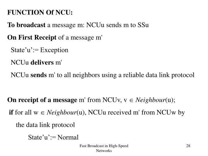 FUNCTION Of NCU: