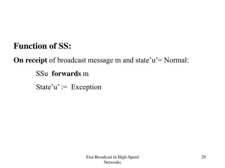 Function of SS: