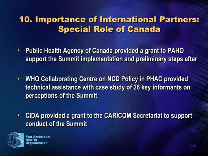10. Importance of International Partners: Special Role of Canada