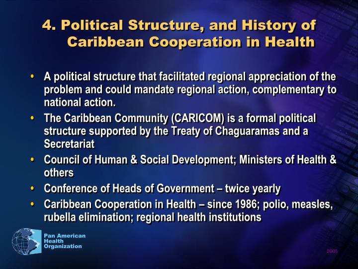 4. Political Structure, and History of Caribbean Cooperation in Health