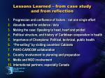 lessons learned from case study and from reflection