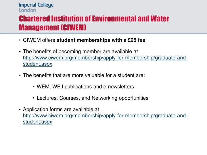 Chartered Institution of Environmental and Water Management (CIWEM)