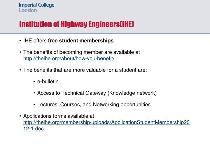 Institution of Highway Engineers(IHE)