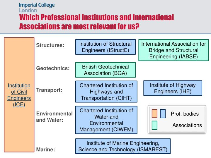 Which Professional Institutions and International Associations are most relevant for us?