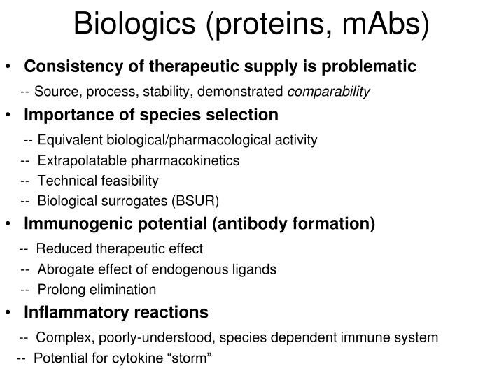 Biologics (proteins, mAbs)