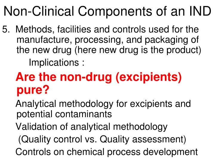 Non-Clinical Components of an IND